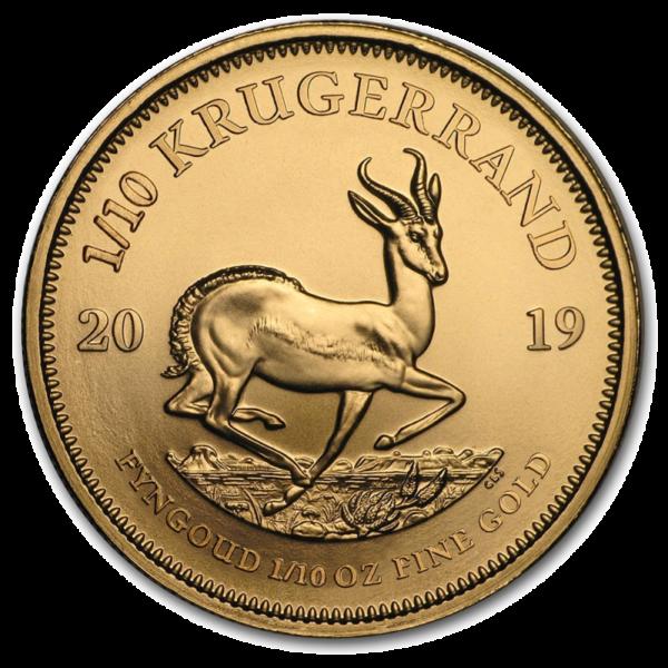 1/10 oz Krugerrand Gold Coin (2019)(Front)