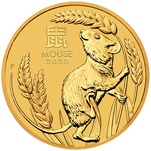 1/10 oz Lunar III Mouse Gold Coin (2020)(Front)
