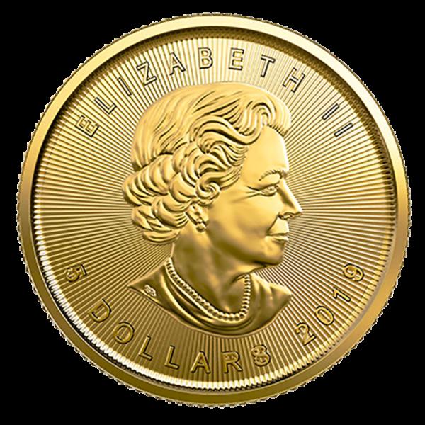 1/10 oz Maple Leaf Gold Coin (2019)(Back)