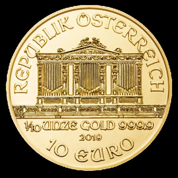1/10 oz Vienna Philharmonic Gold Coin (2019)(Back)