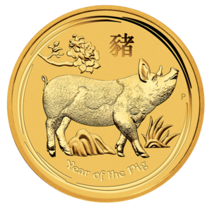 1/2 oz Lunar II Pig Gold Coin (2019)(Front)