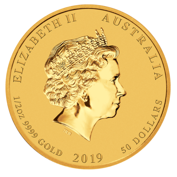 1/2 oz Lunar II Pig Gold Coin (2019)(Back)