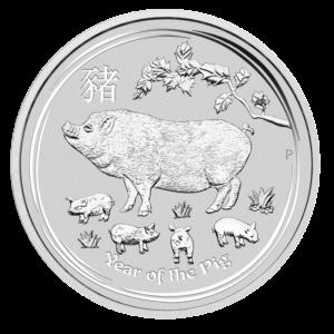1/2 oz Lunar II Pig Silver Coin (2019)(Front)
