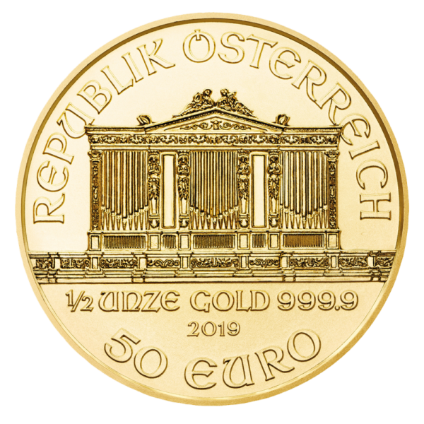 1/2 oz Vienna Philharmonic Gold Coin (2019)(Back)