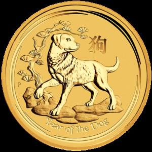 1/20 oz Lunar II Dog | Gold | 2018(Front)