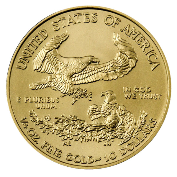 1/4 oz American Eagle Gold Coin (2019)(Back)