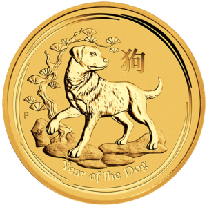 1/4 oz Lunar II Dog | Gold | 2018(Front)