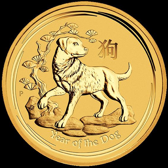 1/4 oz Lunar II Dog | Gold | 2018(Front)