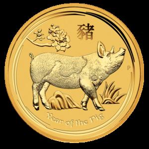 1/4 oz Lunar II Pig Gold Coin (2019)(Front)