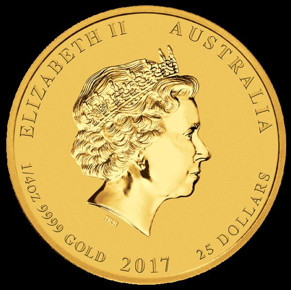 1/4 oz Lunar II Rooster   Gold   2017(Back)