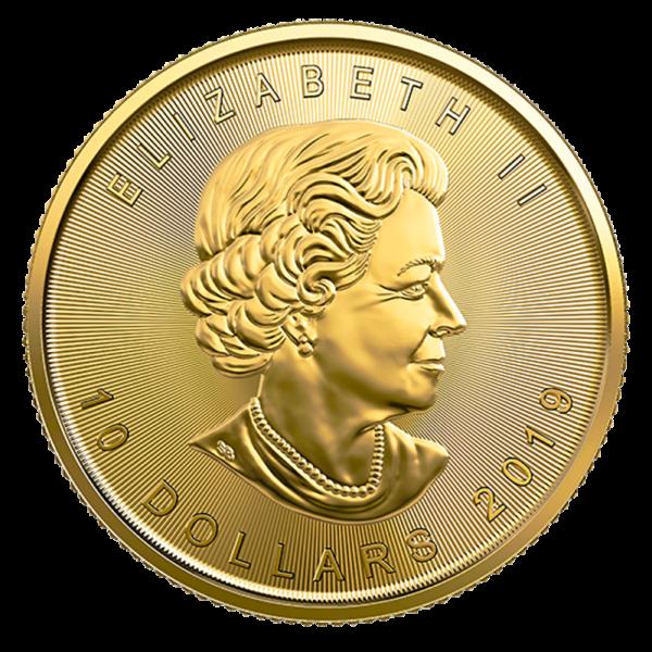 1/4 oz Maple Leaf Gold Coin (2019)(Back)