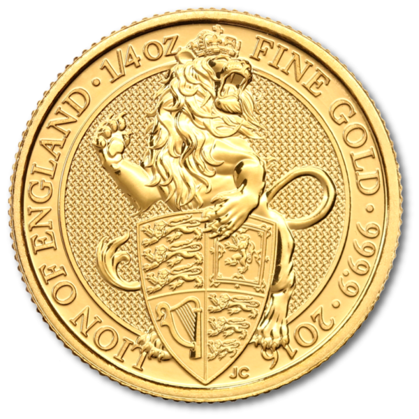 1/4 oz Queen's Beasts Lion | Gold | 2016(Front)