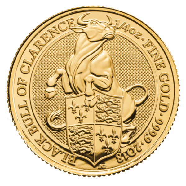 1/4 oz Queen's Beasts Black Bull Gold Coin (2018)(Front)
