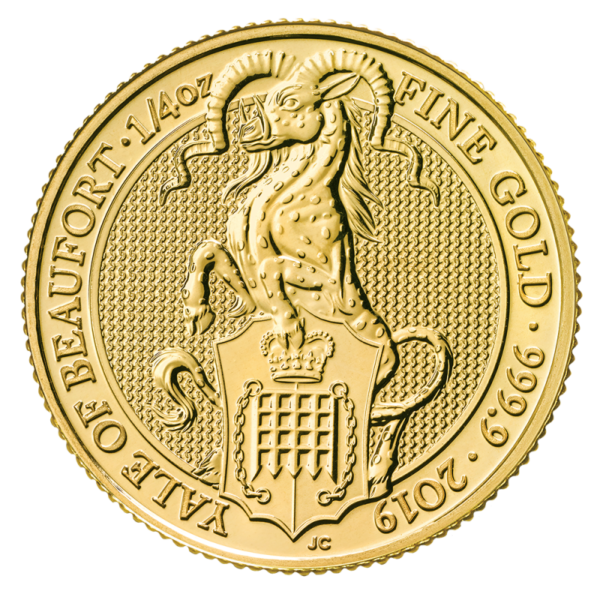 1/4 oz Queen's Beasts Yale of Beaufort Gold Coin (2019)(Front)