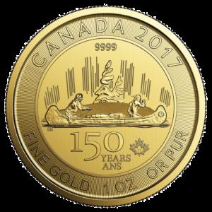 1 oz Canada 150 Voyageur | Gold | 2017(Front)
