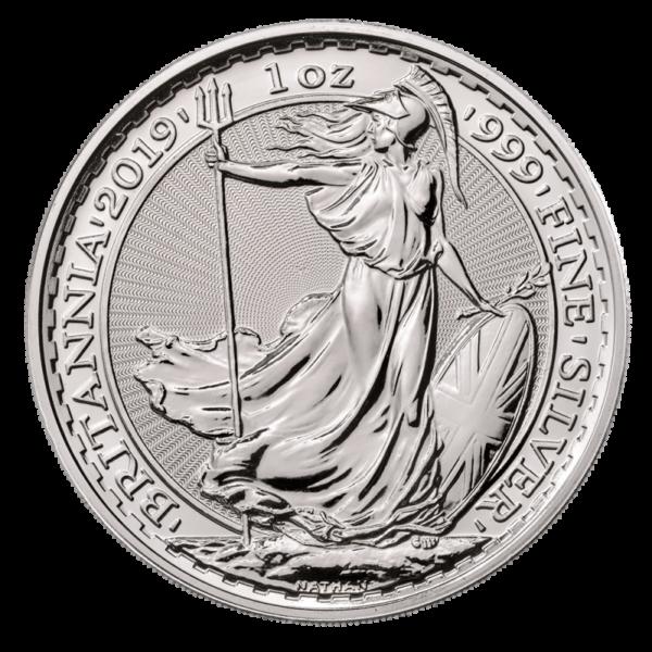 1 oz Britannia Silver Coin (2019)(Front)