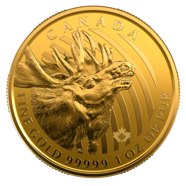 "1 oz Call of the Wild ""Gold Moose"" .99999 Gold Coin (2019)(Front)"