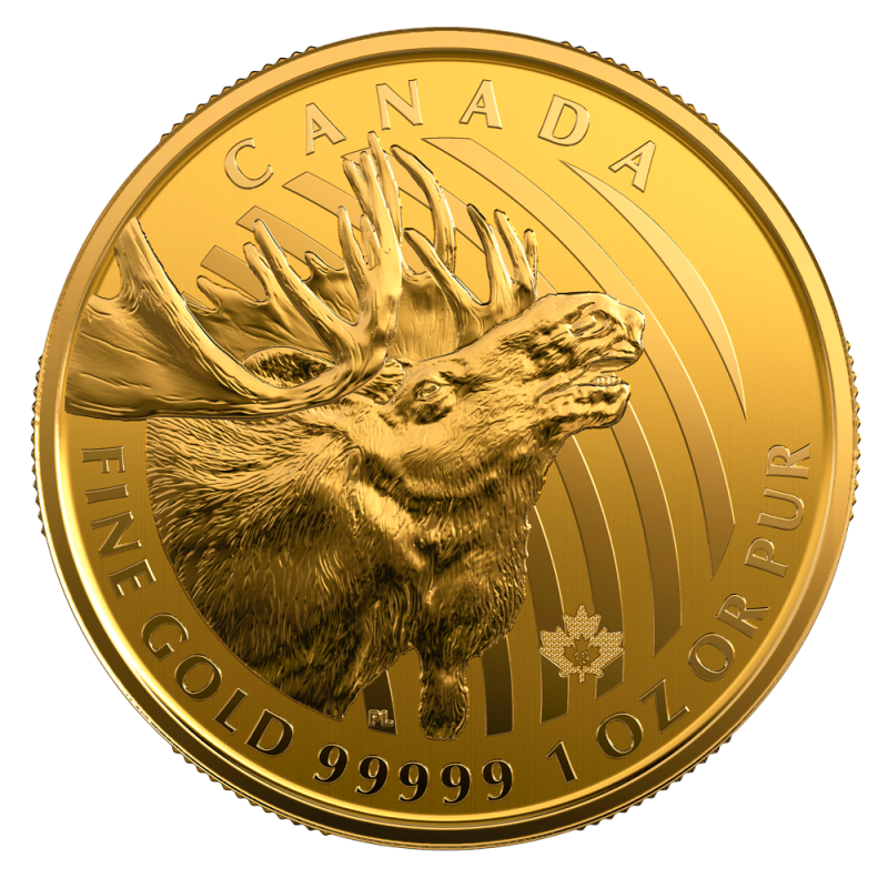 1 Oz Call Of The Wild Gold Moose 99999 Gold Coin 2019 Bitgild