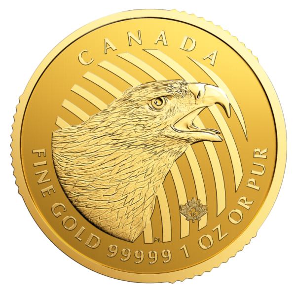 "1 oz Call of the Wild ""Golden Eagle"" .99999 Gold Coin (2018)(Front)"