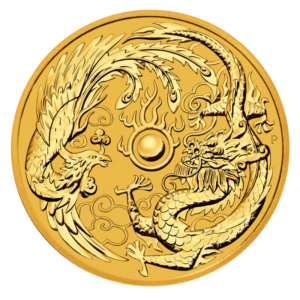 1 oz Dragon and Phoenix Gold Coin (2018)(Front)