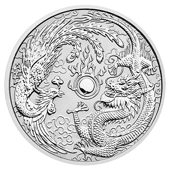 1 oz Dragon and Phoenix Silver Coin (2017)(Front)