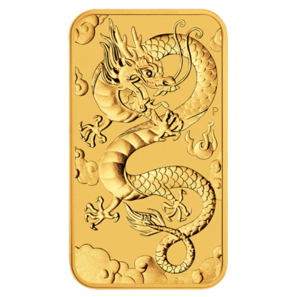 1 oz Dragon Rectangular Gold Coin (2019)(Front)