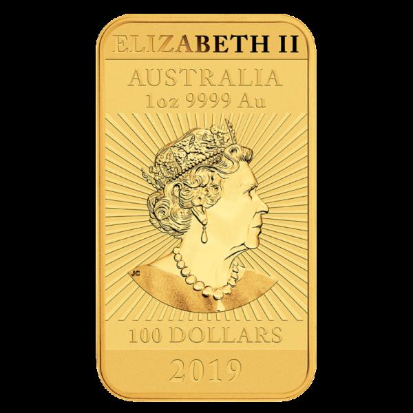1 oz Dragon Rectangular Gold Coin (2019)(Back)