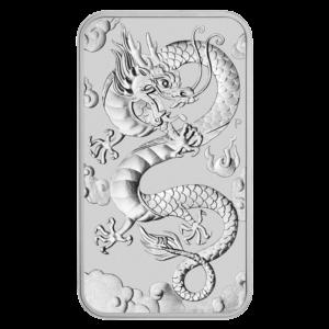 1 oz Dragon Rectangular Silver Coin (2019)(Front)