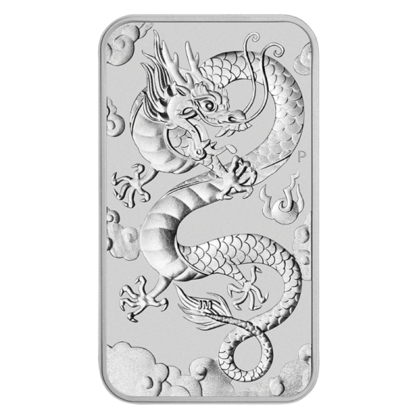 1 oz Dragon Rectangular Silver Coin (2019)(Front)