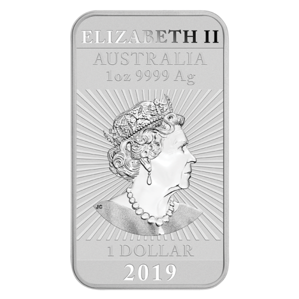 1 oz Dragon Rectangular Silver Coin (2019)(Back)