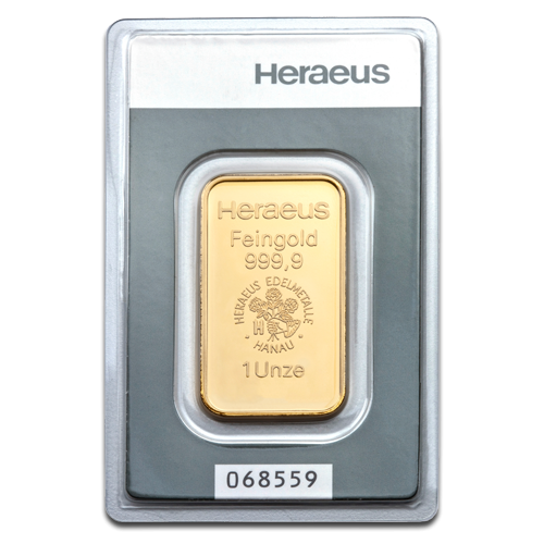 1oz Gold Bullion | Heraeus Gold Bar | 31.1gr(Front)
