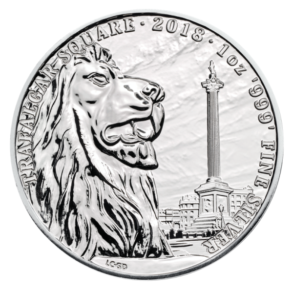 1 oz Landmarks of Britain - Trafalgar Square Silver Coin (2018)(Front)