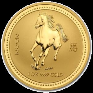 1 oz Lunar I Horse | Gold | 2002(Front)