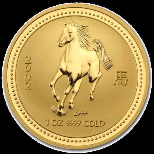 1 oz Lunar I Horse   Gold   2002(Front)