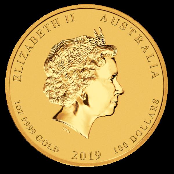 1 oz Lunar II Pig Gold Coin (2019)(Back)