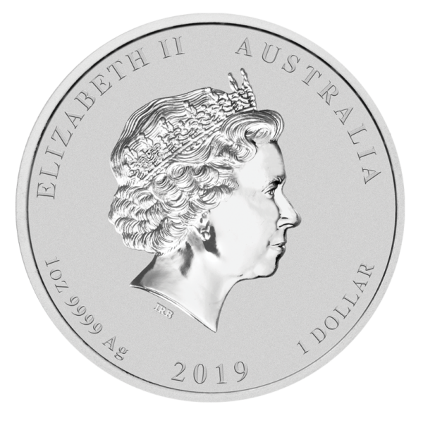 1 oz Lunar II Pig Silver Coin (2019)(Back)