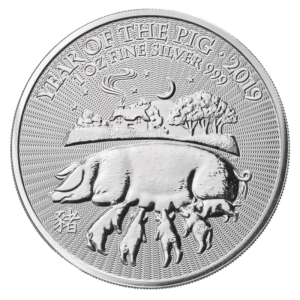1 oz Lunar UK Year of the Pig Silver Coin (2019)(Front)