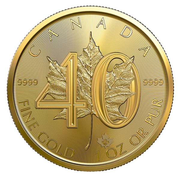 1 oz Maple Leaf 40th Anniversary Gold Coin (2019)(Front)