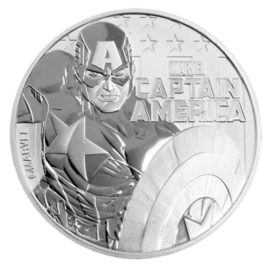 1 oz Marvel's Captain America Silver Coin (2019)(Front)