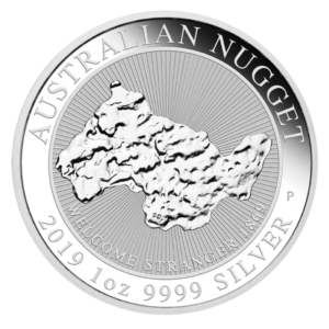 1 oz Nugget Welcome Stranger Silver Coin (2019)(Front)