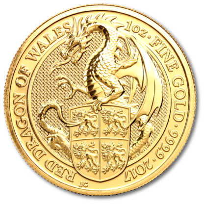 1 oz Queen's Beasts Dragon   Gold   2017(Front)