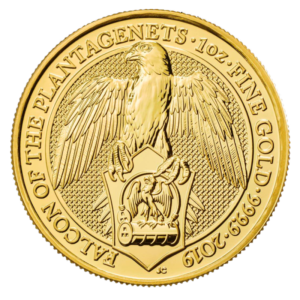 1 oz Queen's Beasts Falcon Gold Coin (2019)(Front)