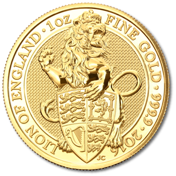 1 oz Queen's Beasts Lion | Gold | 2016(Front)