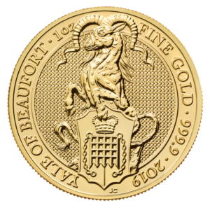 1 oz Queen's Beasts Yale of Beaufort Gold Coin (2019)(Front)