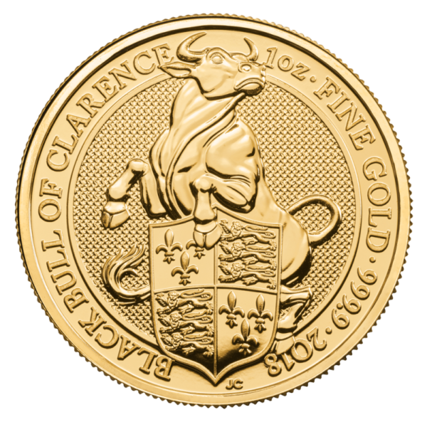 1 oz Queen's Beasts Black Bull Gold Coin (2018)(Front)