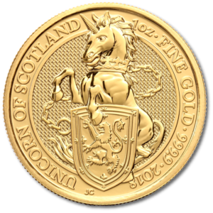 1 oz Queen's Beasts Unicorn | Gold | 2018(Front)