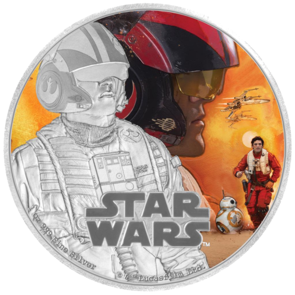 1 oz STAR WARS The Force Awakens - Poe Dameron™ | Silver | 2016(Front)
