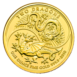 1 oz Two Dragons Gold Coin (2018)(Front)