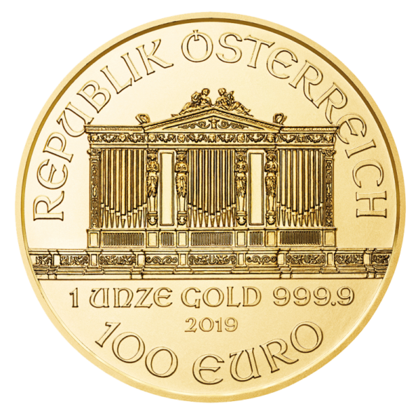 1 oz Vienna Philharmonic Gold Coin (2019)(Back)