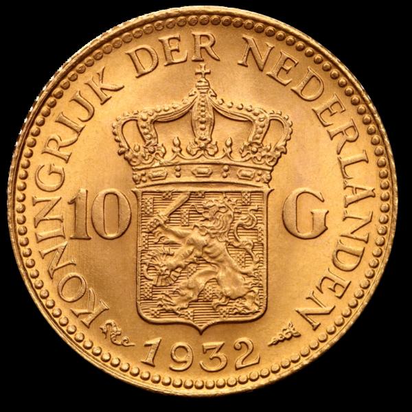 10 Dutch Guilders Wilhelmina | Gold | 1892-1933(Back)